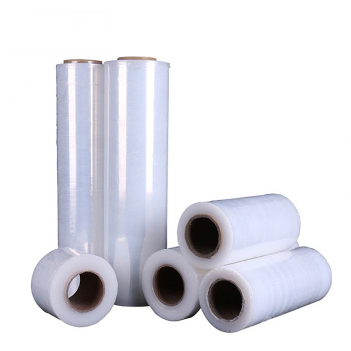 厂家直销pe拉伸膜加工 自粘托盘缠绕膜 透明塑料包装薄膜 50cm宽
