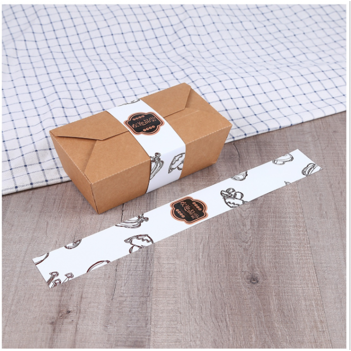 厂家餐盒标签腰封快餐盒定制logo封条快餐盒纸套袜子标签扎带定做